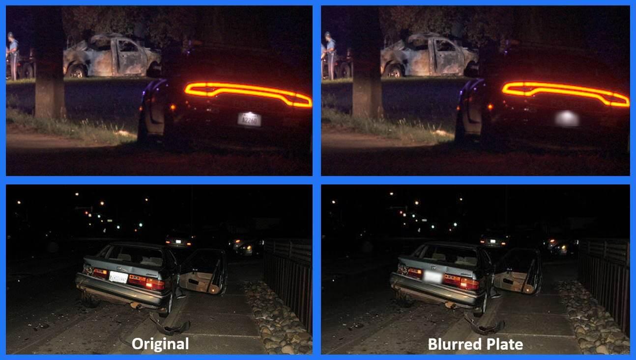 Blur dark license plate