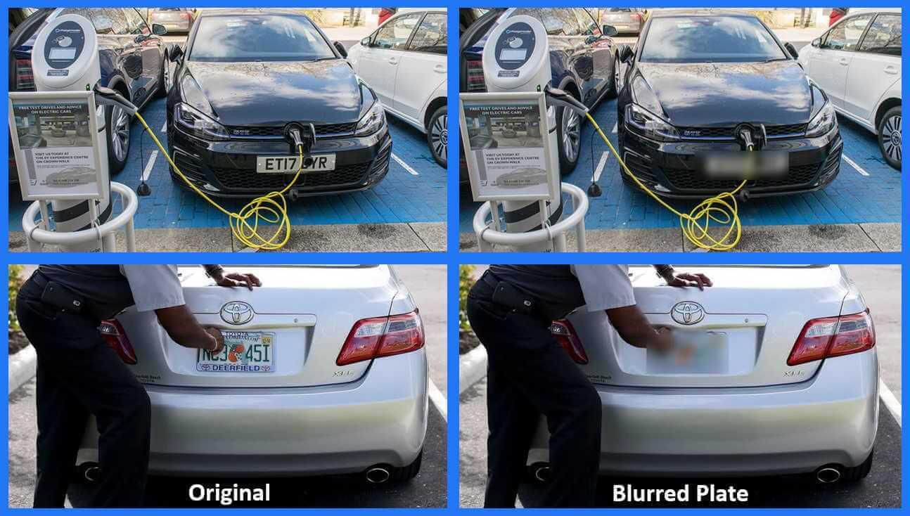 Blur partial view license plate